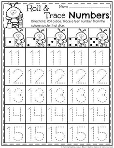 Teen Number Tracing Worksheets for Kindergarten 11-15