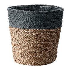 KRUSBÄR Plant pot, gray, natural - IKEA