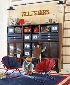 Pottery Barn Kids - Cameron Creativity Storage System w/Art Cubbies (espresso w/ chalk doors)