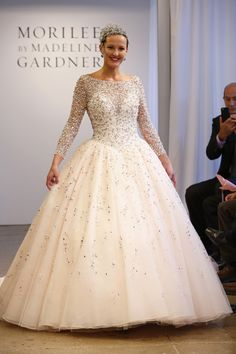 A dazzling jeweled blush ball gown fit for a princess by Mori Lee {photo: Dan Lecca}