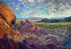 Joshua Tree painting of California desert landscape, by Erin Hanson
