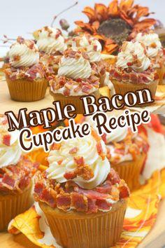 Maple Bacon Cake Recipe, Maple Bacon Cupcakes, Gourmet Cupcake Recipes, Baking Recipes, Dessert Recipes, Amazing Cupcakes, Yummy Cupcakes, Vanilla Cupcakes, Easy Desserts