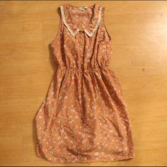 Pink Floral Dress with Collar | Papaya Cute pink floral dress with white accent and collar. Knee length. Papaya Dresses Mini