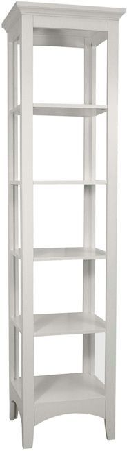 Stores your towels and toiletries in a stylish fashion with this five-shelf white linen tower. The elegant tower features a sturdy MDF construction complete with a white finish. This classic linen tower will complement any bathroom decor.