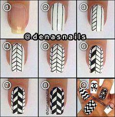 Nail art en forme de carreaux noirs et blancs . Magnifique !!!