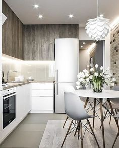 VK is the largest European social network with more than 100 million active users. Kitchen Room Design, Home Room Design, Modern Kitchen Design, Home Decor Kitchen, Interior Design Kitchen, Home Kitchens, Minimalist Dining Room, Small Apartment Kitchen, Cuisines Design