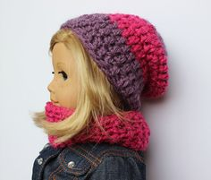 Slouchy Doll Beanie And Cowl Doll Hat And by CreativeDollCrafts