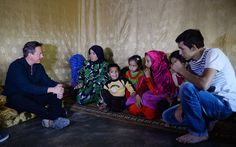 Prime Minister David Cameron meets a Syrian refugee family in a settlement camp in the Bekaa Valley in Lebanon David Cameron, Chinook Helicopters, Syrian Civil War, British Prime Ministers, Church Of England, Refugee Crisis, Syrian Refugees, Camping, Syria