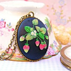 Strawberry Necklace, Black Pendant, Polymer Clay Strawberry Necklace, Strawberries Cameo Necklace, Polymer Clay Jewelry Strawberry Jewelry