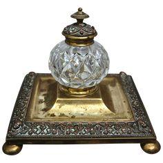 victorian era inkwells | Victorian Cut Glass & Brass Inkwell