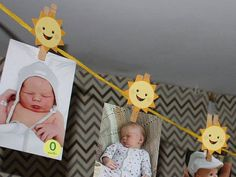 Printable DIY Sunshine Party Decorations, Monthly Baby Photo Display, You Are My Sunshine, Boy Sunsh Sunshine Birthday Parties, Boy Birthday Parties, Diy Birthday Decorations, Birthday Crafts, Parties Decorations, Birthday Ideas, Baby Monat Für Monat, Monthly Baby Photos, Baby Boy Birthday
