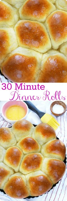 30 Minute Dinner Rolls   Soft and fluffy homemade rolls in less than 30 minutes! These foolproof dinner rolls are so easy to make you'll never go store-bought again! Find recipe at redstaryeast.com.