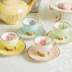 Pretty set of four harlequin demitasse teacups by TheButteredCat