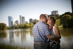 Photo by: Brian Slawson Photography. Engagement shoot. Milwaukee skyline. #city #outdoor #love