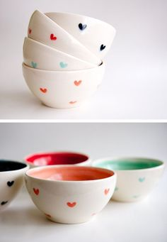 Hand-made heart bowls by RossLab. Holy moly, these are cute. There is something so imminently satisfying about bowls; methinks it's because you can eat almost anything from them. Sorry 'bout it, plates.