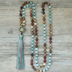Long Boho Mala Gemstone Beaded Green Amazonite & Jasper Tassel Necklace