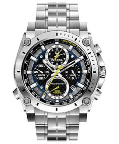 A little wrist candy for your arm candy. Bulova Watch, Men's Chronograph Precisionist Stainless Steel Bracelet 47mm 96B175