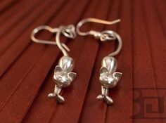 Kittens - earrings 3d printed Silver Polished