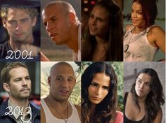 Paul Walker Vin Diesel Jordana Brewster & Michelle Rodriguez from 2001 - 2013 Fast And Furious Letty, Movie Fast And Furious, Furious Movie, The Furious, Vin Diesel, Paul Walker Movies, Rip Paul Walker, Michelle Rodriguez, Dwayne The Rock