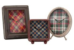 Asst. of 3 Riley Plaid Metal Clocks