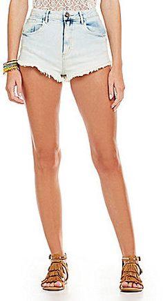 $17, Light Blue Acid Denim Shorts: Gb Acid Wash Denim Shorts. Sold by Dillard's. Click for more info: https://lookastic.com/women/shop_items/269858/redirect
