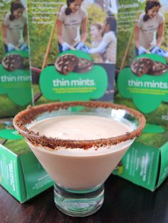 Thin Mint Martini- 2 1/2 ounces absolut vanilla vodka 1/4 ounce white creme de menthe 1/4 ounce godiva dark chocolate-flavored liqueur