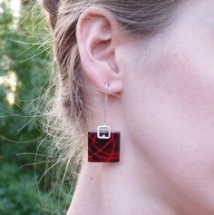 Stencil earrings Red and Black enamels Sterling by aforfebre