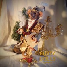 Christmas Mouse - Nutcracker Doll - Art doll - Christmas Decor - Christmas Art Doll - Winter Decor - Polymer Clay Art - One Of A Kind Doll by RustyDolls on Etsy Christmas Baubles, Christmas Carol, Christmas Decorations, Thing 1, Vintage Candle Holders, Miniature Christmas, Hand Shapes, Polymer Clay Art, Art Dolls