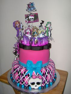 "Monster High cake - Inspired by malden's Monster High cake.....12"" and 8"" cakes covered and decorated with fondant.  Topper provided by customer."