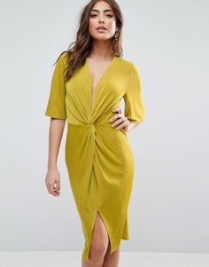 """ASOS Slinky Kimono Knot Front Dress - Yellow by: ASOS @ASOS (US) Dress by ASOS Collection, Soft-touch velvet, V-neck, Knot detail, Front split, Keyhole back, Slim fit - cut close to the body, Machine wash, 96% Polyester, 4% Elastane, Our model wears a UK 8/EU 36/US 4 and is 170 cm/5'7"""" tall. ABOUT ASOS COLLECTION Score a wardrobe win no matter the dress code with our ASOS Collection own-label collection. From polished prom to the after party, our London-based design team scour the globe to…"""