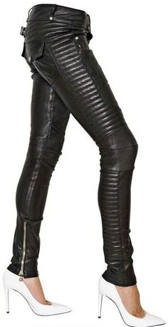 Balmain Leather Stretch Biker Trousers -THE ADDED TEXTURE HELPS CAMOUFLAGE UNWANTED AREAS.