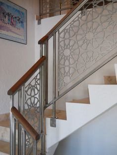 Custom built metal railing, stairs and gates Steel Stair Railing, Staircase Railing Design, Modern Stair Railing, Balcony Railing Design, Window Grill Design, Steel Stairs, Stair Handrail, Modern Stairs, Railing Ideas