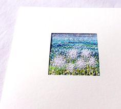 Dandelion fiber art card 4.75 inches square by StitchMikki