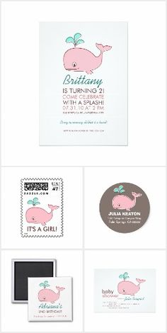 Pink Whale Invitations & Stationery