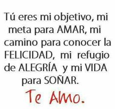 tu eres mi objetivo, mi meta para AMAR, mi camino para conocer la FELICIDAD, mi refugio de ALEGRIA y mi viDA para soñar. te amo E,S.A