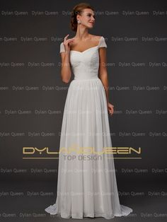 A-Line/Princess Sweetheart Beading Short Sleeves Sweep/Brush Train Chiffon Dress (DylanQueen N14D01031C)