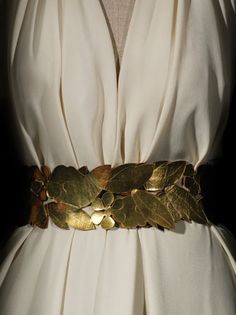Grecian draped dress with gold leaf belt 1936