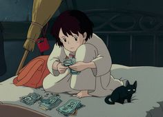 "ghibli ~ ""How much do you think a phone will cost? Art Studio Ghibli, Studio Ghibli Movies, Old Anime, Manga Anime, Anime Art, Otaku Anime, Kiki's Delivery Service, Kiki Delivery, Hayao Miyazaki"