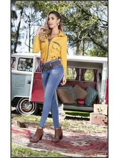 Volkswagen Minibus, Vw T1, Split Screen, Bus Girl, Sexy Jeans, Models, Jeans Style, Pretty Outfits, Bell Bottom Jeans
