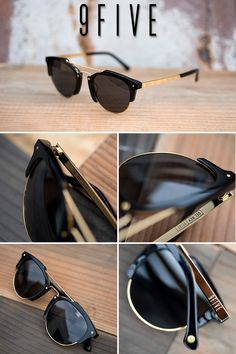 9FIVE Del Rey Black & 24K Gold Sunglasses