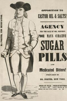 Antique Medicine Advertisement - Mr. Porter's Poor Man's Curative Sugar Pills (c1845) - Archival Reproduction