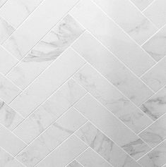 Inspiring innovations that we have a passion for! Marble Porcelain Tile, Marble Tile Bathroom, Bathroom Floor Tiles, Herringbone Marble Floor, Herringbone Backsplash, Herringbone Pattern, White Tile Shower, Calacatta, Bathroom Inspiration
