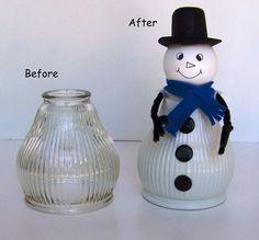 White Snowman Light Shade Glass Globe Christmas by Glass Light Globes, Glass Light Shades, Glass Globe, Glass Lights, Snowman Crafts, Christmas Projects, Holiday Crafts, Christmas Ideas, Globe Crafts