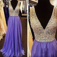 2017 Evening Dress,Purple Prom Dress,V neck prom dress,Charming prom dress,Long prom dress,BD171