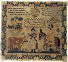 EARLY 19TH CENTURY FIGURE, DONKEY & COW SAMPLER BY HARRIET HOPE - 1839.
