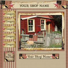 Red Prim House OOAK Webset from Primitive Mercantile Graphics. http://www.primmercantilegraphics.com/primwebsets.html  Like our new facebook page! https://www.facebook.com/primmercantilegraphics