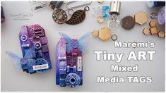 TINY ART Mixed Media Recycling Tags ♡ Maremi's Small Art ♡ - YouTube