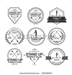 Set of different logo templates for stand up paddling. Athletic labels and badges made in vector. Flat design style illustration of icons. Template for postcard, personal card or print. Year 2, Flat Design, Logo Templates, Stand Up, Shirt Ideas, Badges, Shirt Designs, Royalty Free Stock Photos, Sticker