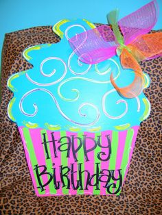 BIRTHDAY CUPCAKE - Wooden Door Hanger - Great for your Home and as a Gift. $26.00, via Etsy.