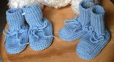 Two Needle Baby Booties Knitting free Pattern